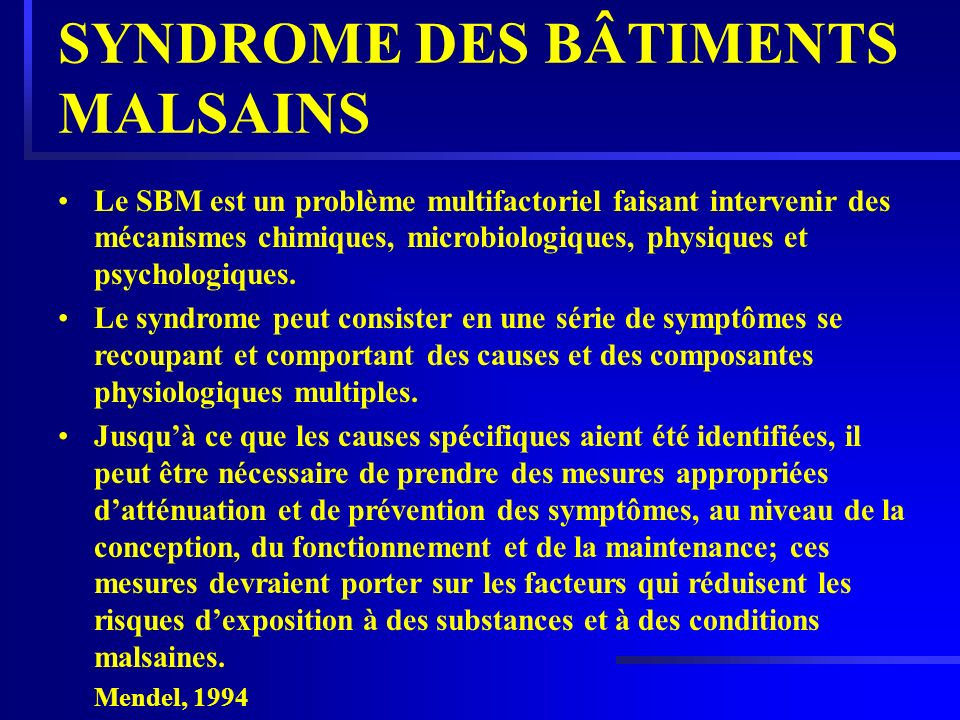 SYNDROME DES BÂTIMENTS MALSAINS