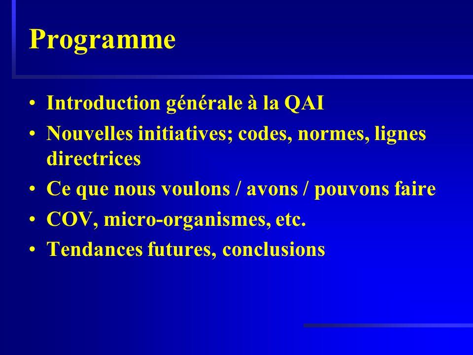 Programme Introduction générale à la QAI