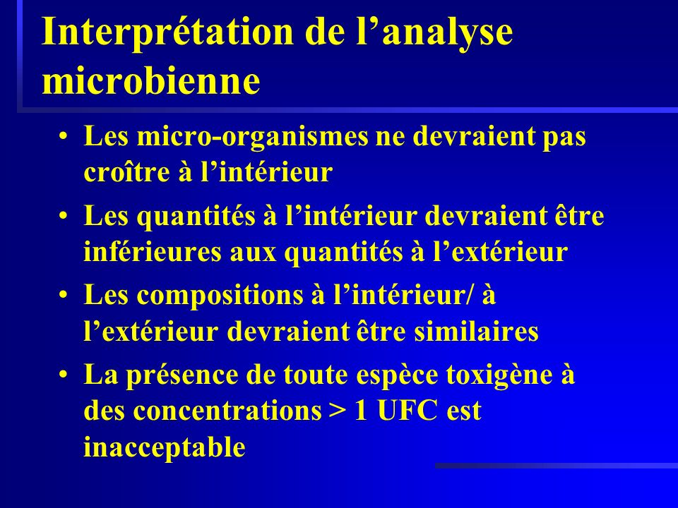Interprétation de l'analyse microbienne