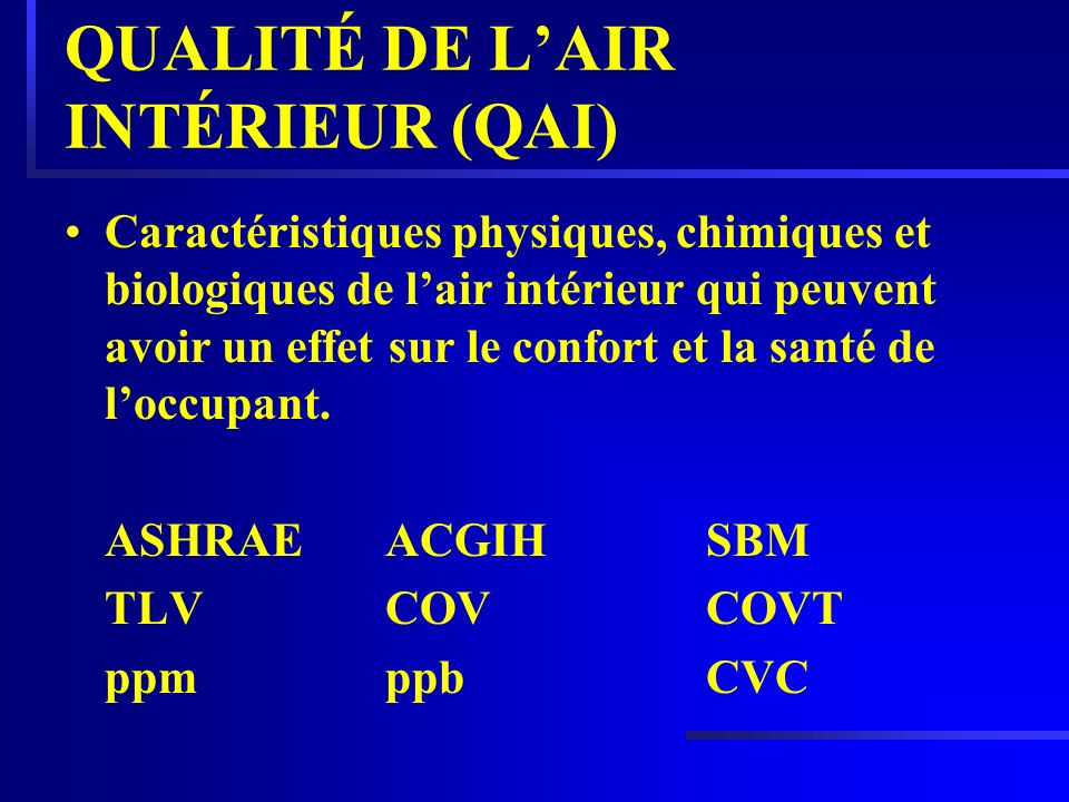 QUALITÉ DE L'AIR INTÉRIEUR (QAI)