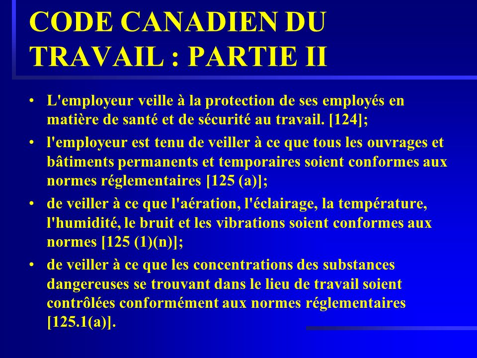 CODE CANADIEN DU TRAVAIL : PARTIE II