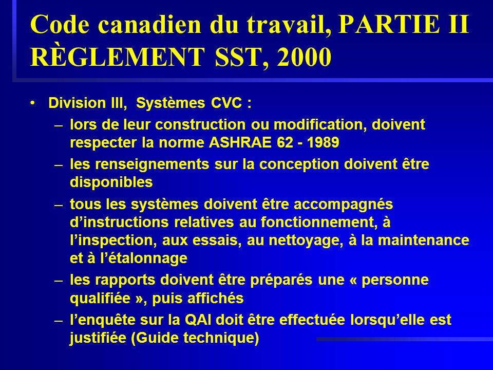 Code canadien du travail, PARTIE II RÈGLEMENT SST, 2000