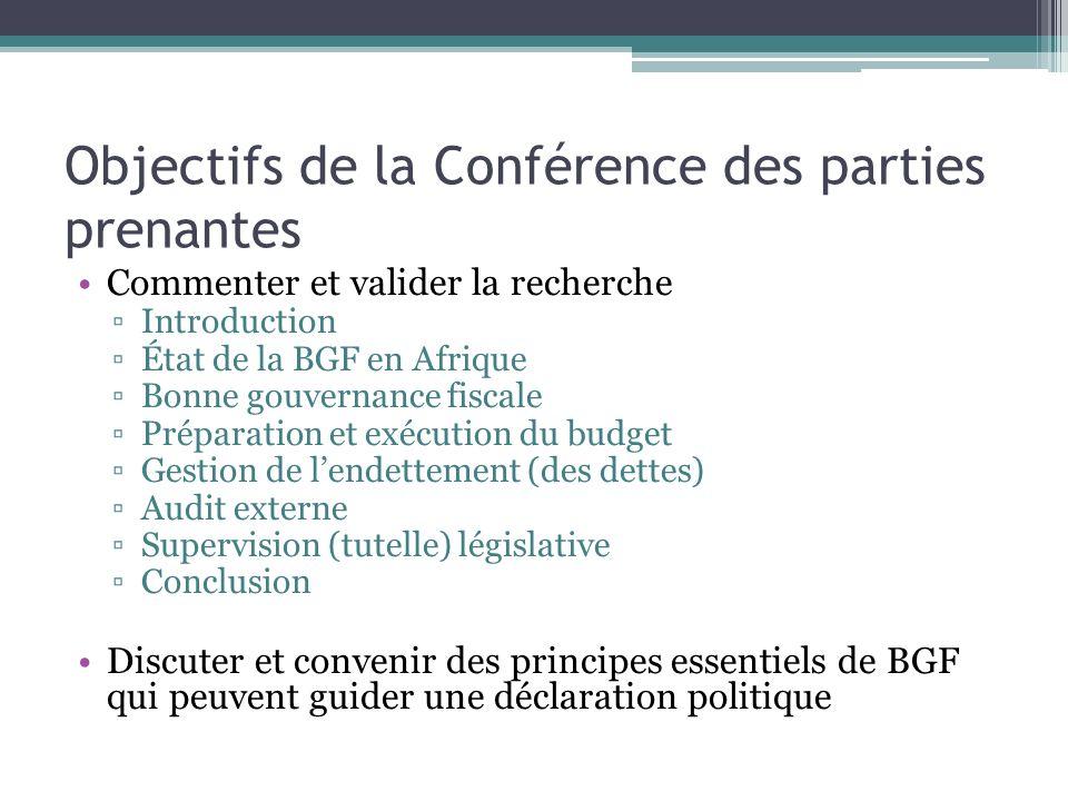 Objectifs de la Conférence des parties prenantes