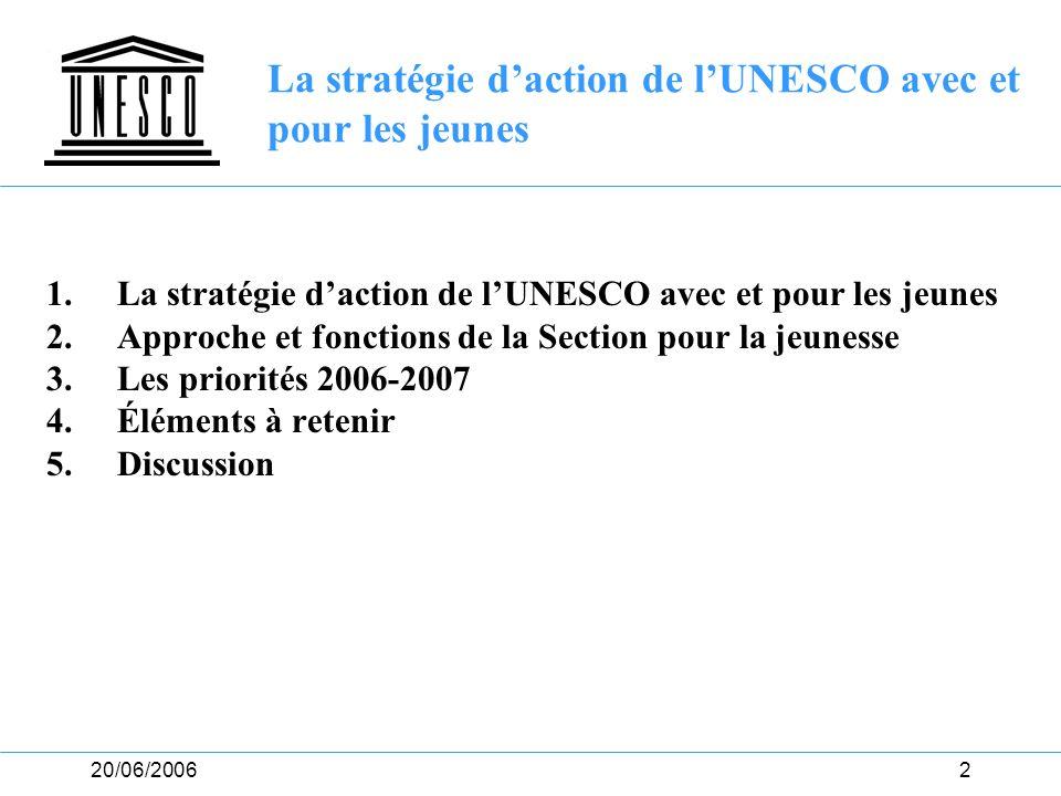 La stratégie d'action de l'UNESCO avec et pour les jeunes