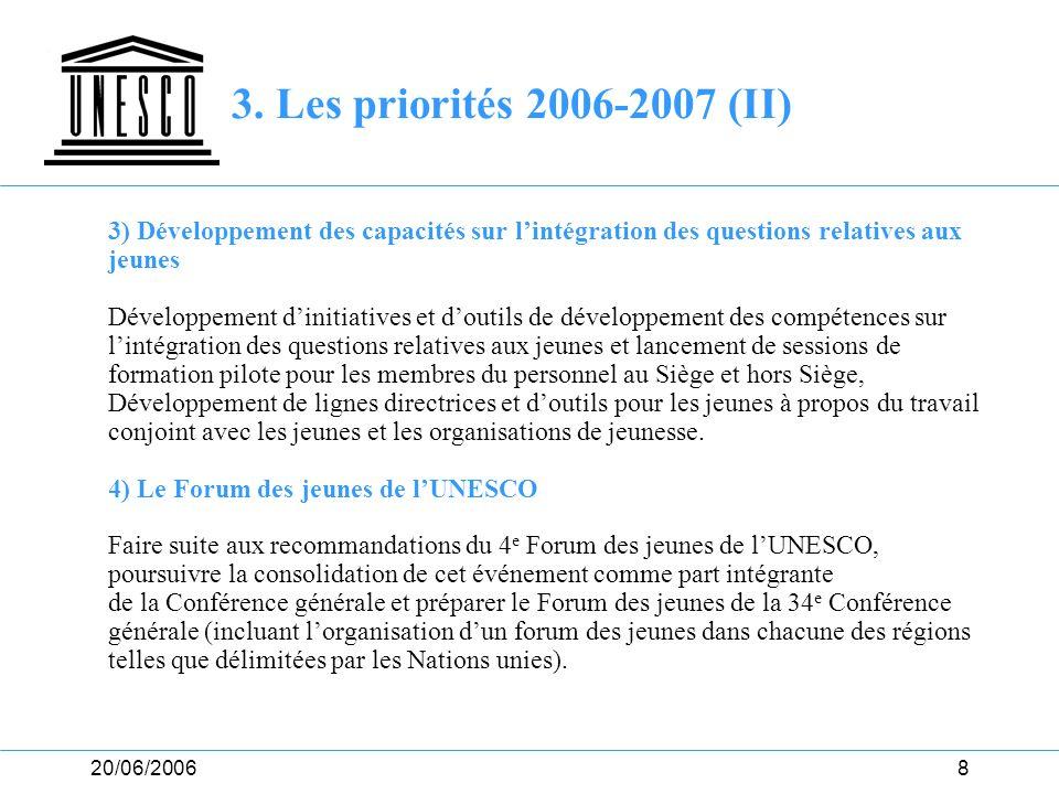 3. Les priorités 2006-2007 (II) 3) Développement des capacités sur l'intégration des questions relatives aux.