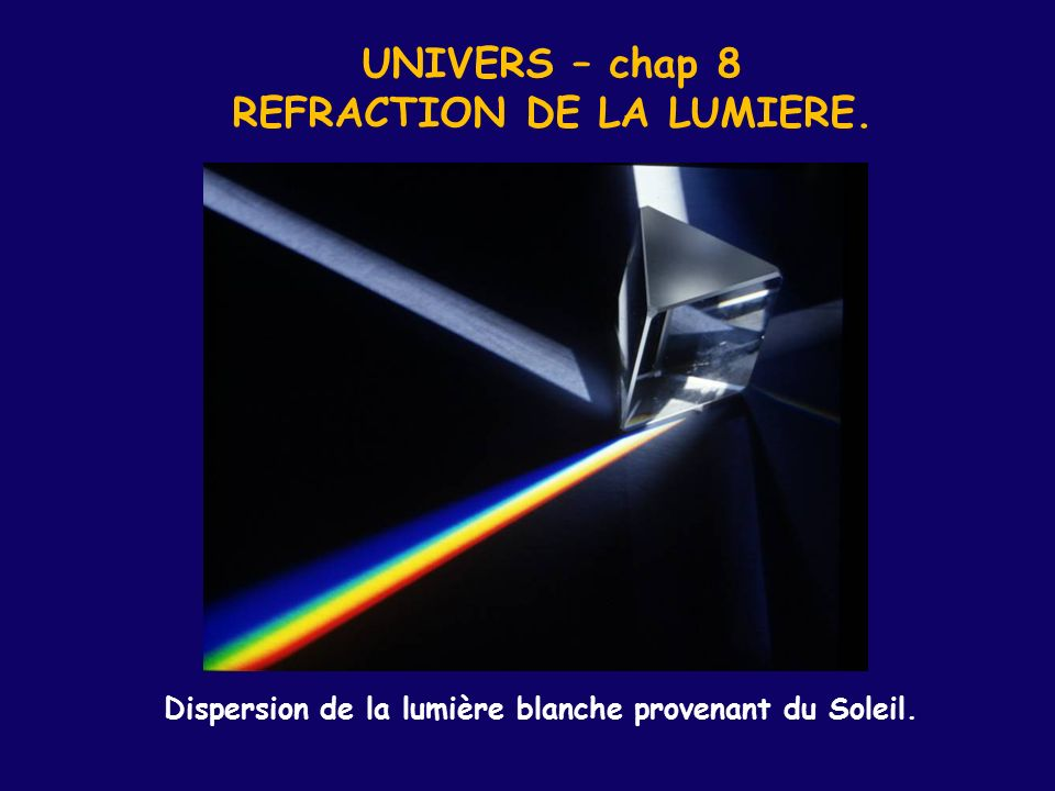 UNIVERS – chap 8 REFRACTION DE LA LUMIERE.