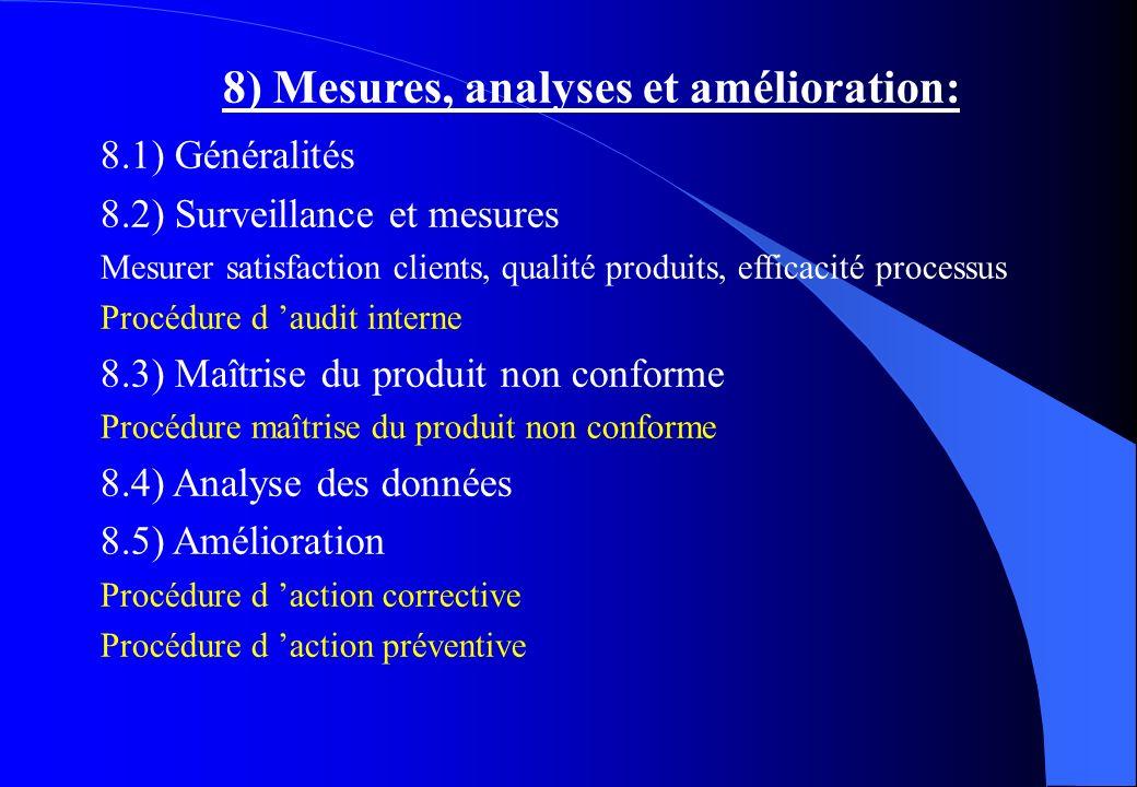 8) Mesures, analyses et amélioration: