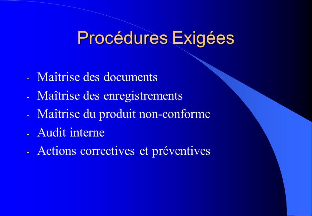 Procédures Exigées Maîtrise des documents Maîtrise des enregistrements