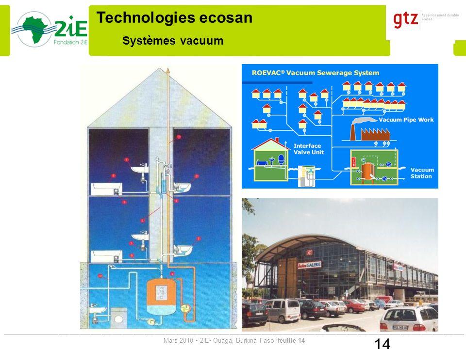 Technologies ecosan Systèmes vacuum