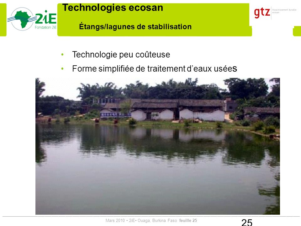 Étangs/lagunes de stabilisation