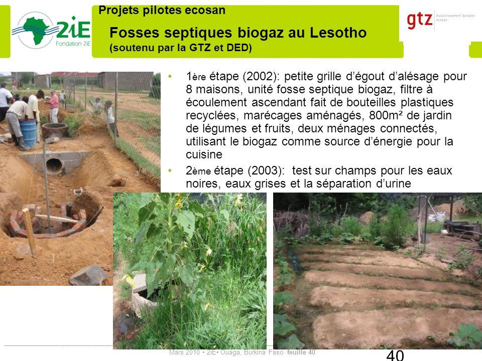 Fosses septiques biogaz au Lesotho (soutenu par la GTZ et DED)