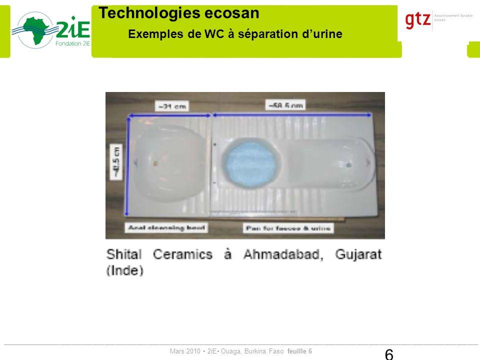 Exemples de WC à séparation d'urine