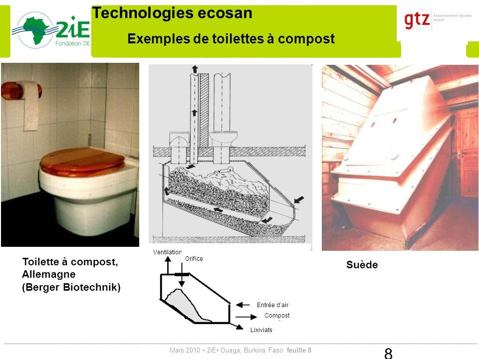 Exemples de toilettes à compost