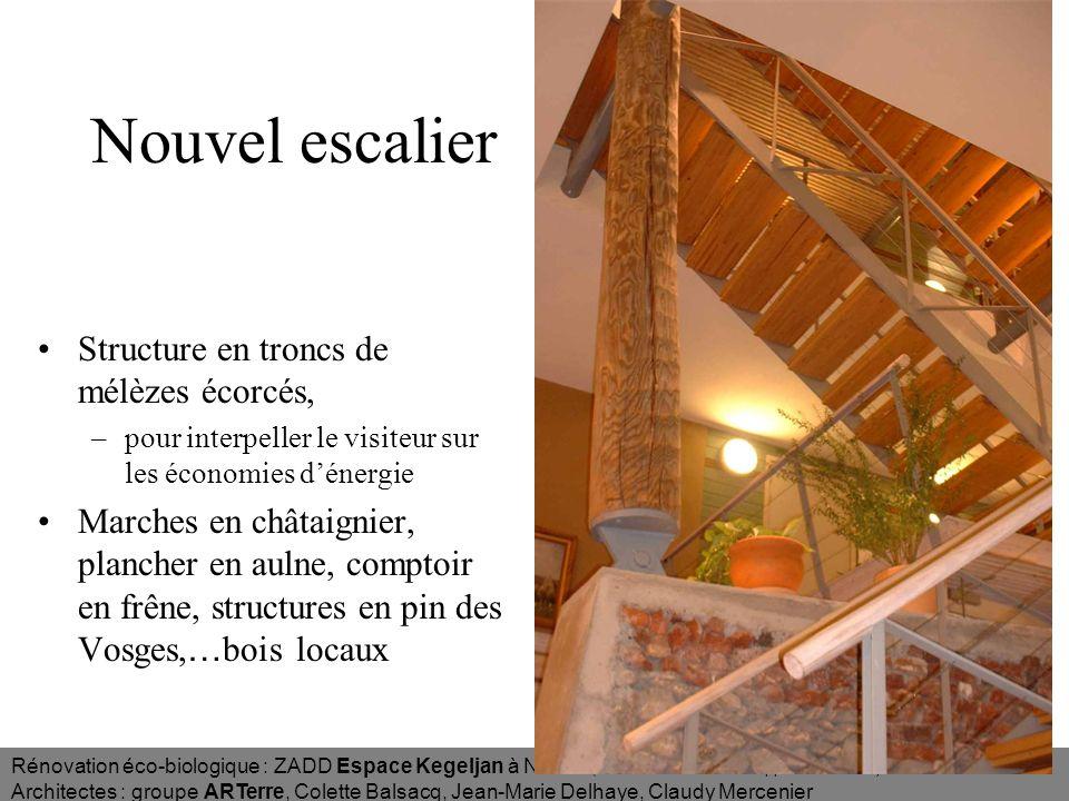 Nouvel escalier Structure en troncs de mélèzes écorcés,