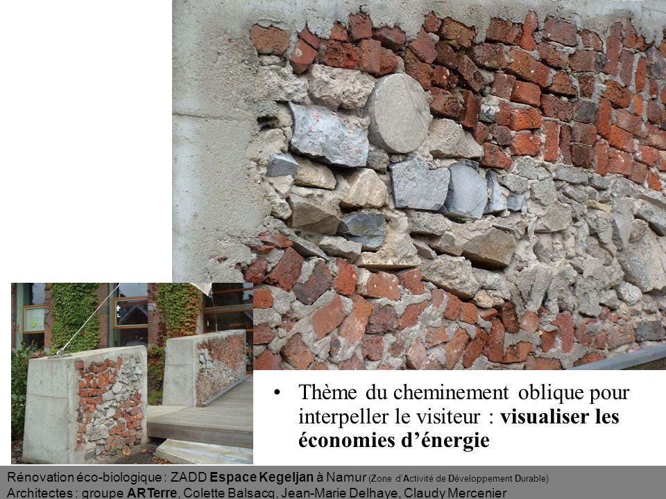 Tout le long du nouveau chemin oblique, les ouvrages sont essentiellement réalisés avec des matériaux provenant des démolitions.