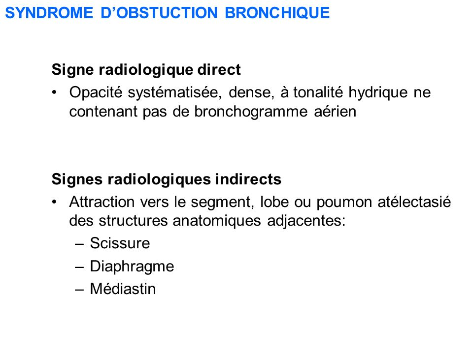 SYNDROME D'OBSTUCTION BRONCHIQUE