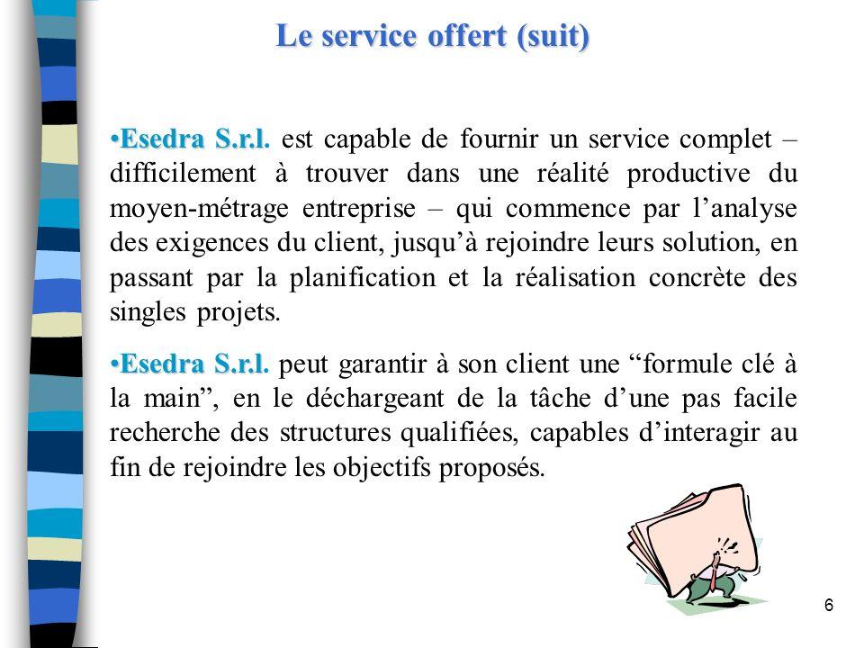 Le service offert (suit)