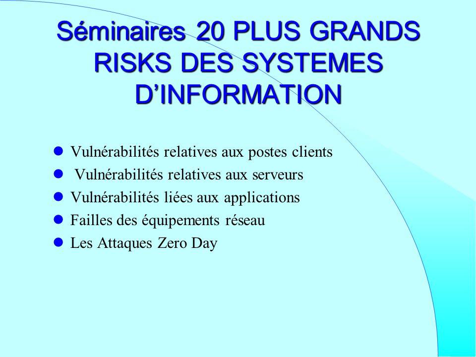 Séminaires 20 PLUS GRANDS RISKS DES SYSTEMES D'INFORMATION