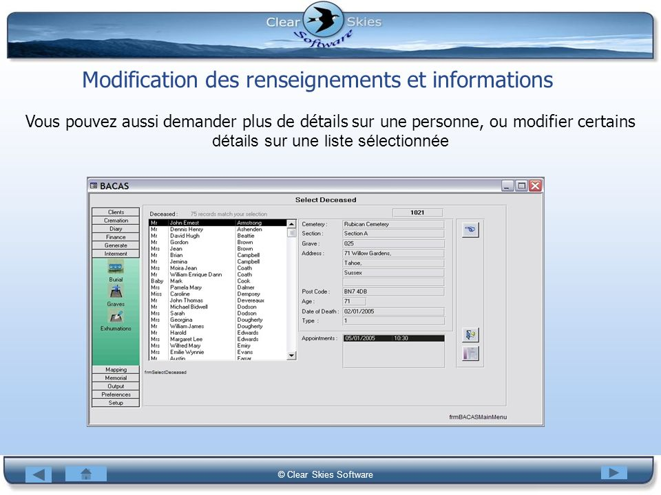 Modification des renseignements et informations