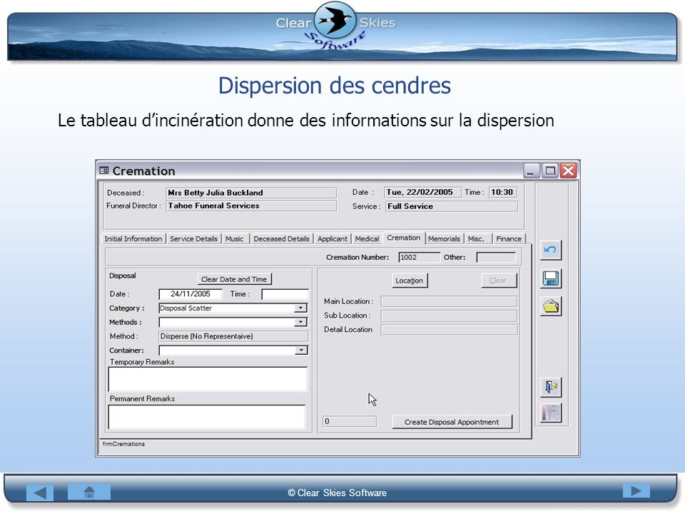 Dispersion des cendres