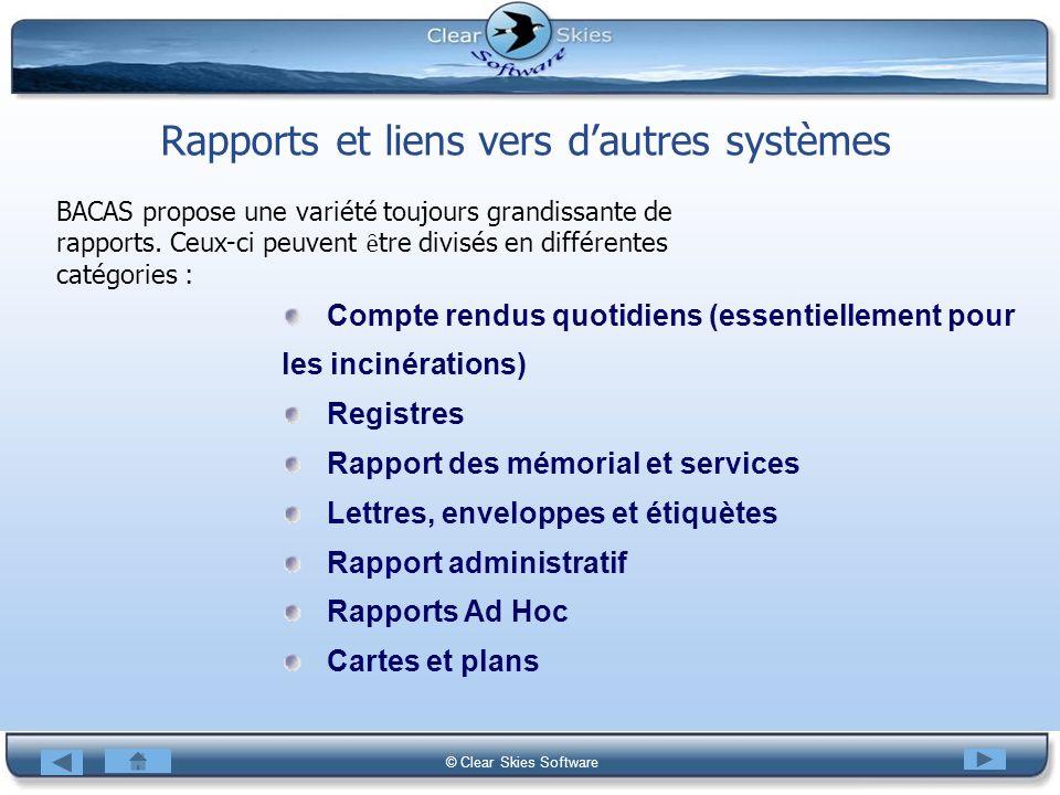 Rapports et liens vers d'autres systèmes