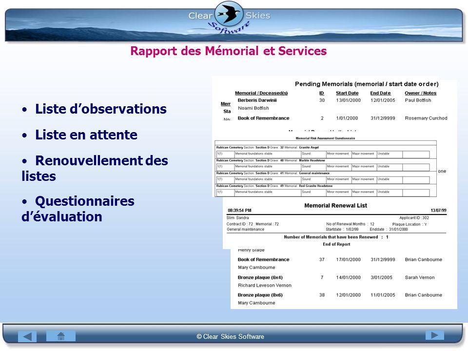 Rapport des Mémorial et Services