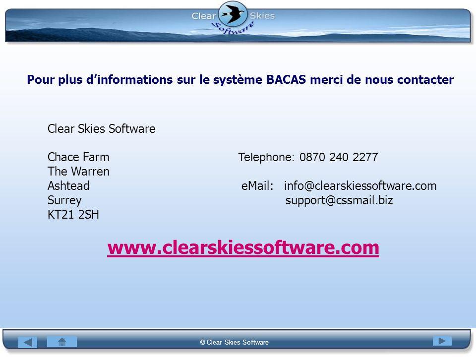 Pour plus d'informations sur le système BACAS merci de nous contacter
