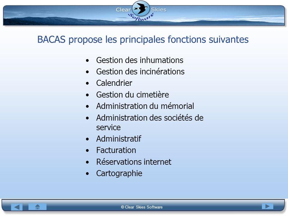 BACAS propose les principales fonctions suivantes