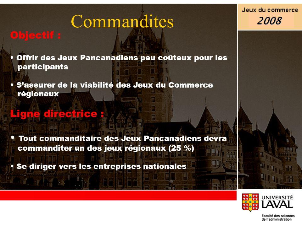 Commandites 2008 Objectif : Ligne directrice :