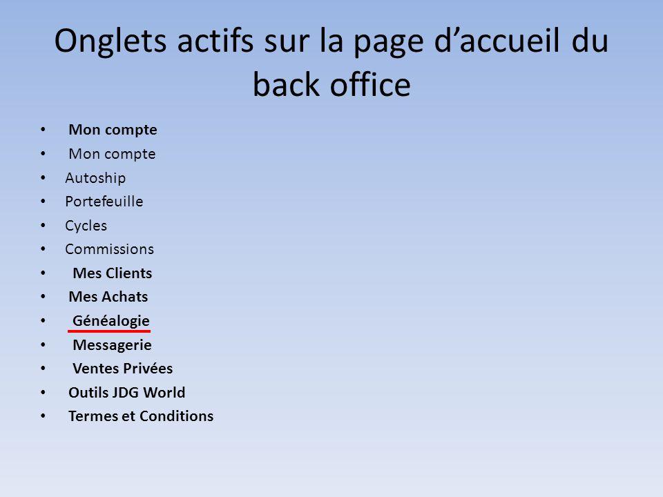 Onglets actifs sur la page d'accueil du back office