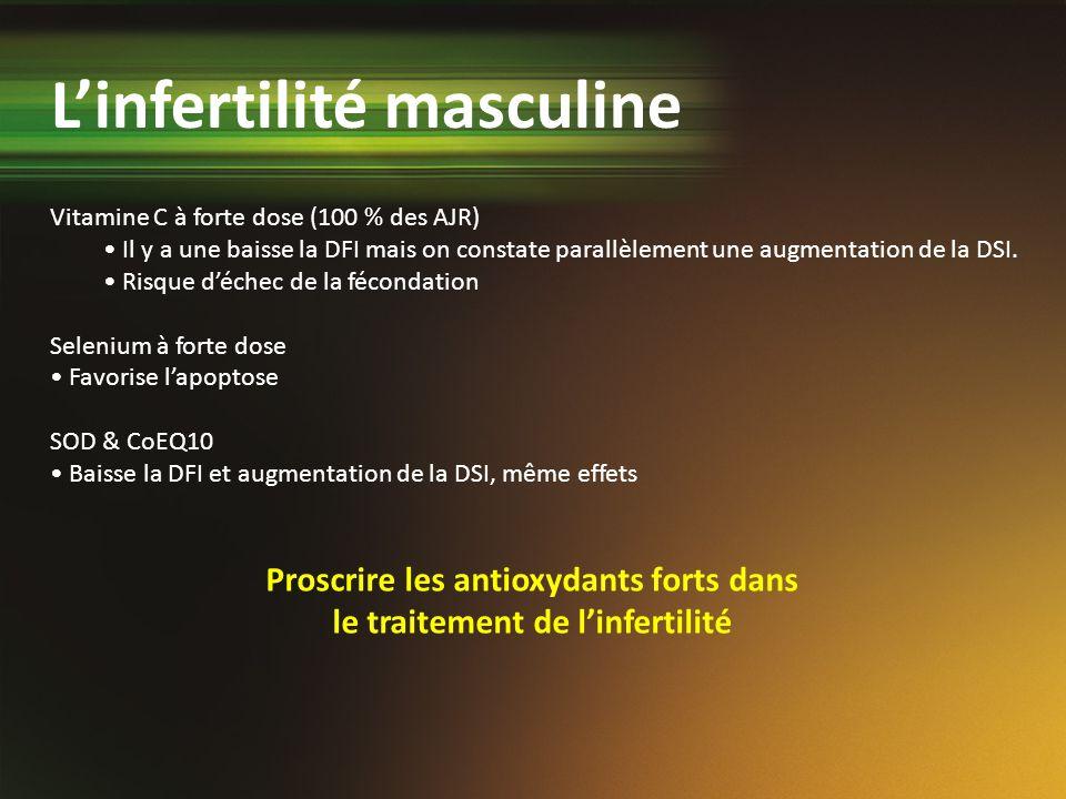 Proscrire les antioxydants forts dans le traitement de l'infertilité