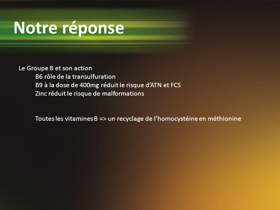 Notre réponse Le Groupe B et son action B6 rôle de la transulfuration