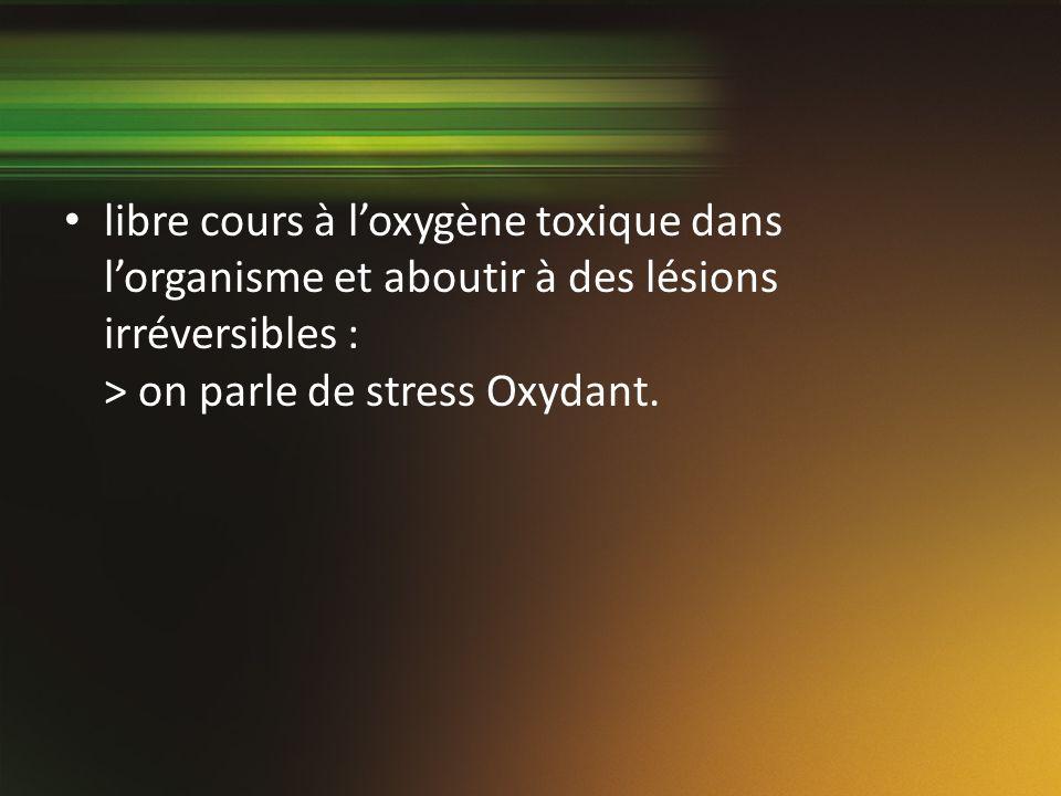 libre cours à l'oxygène toxique dans l'organisme et aboutir à des lésions irréversibles : > on parle de stress Oxydant.