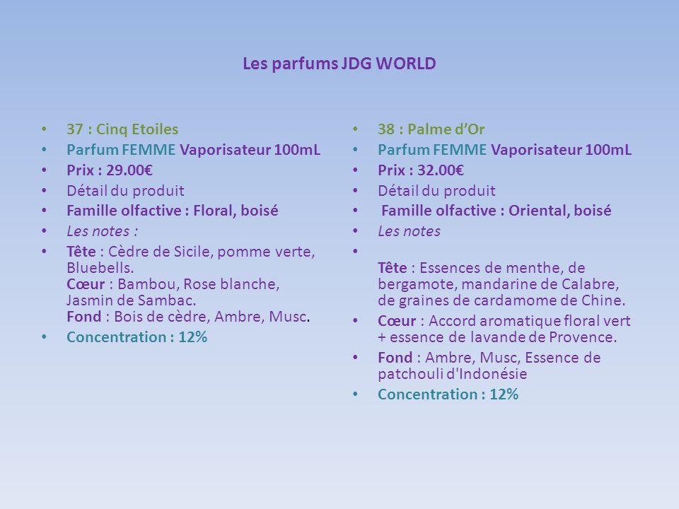 Les parfums JDG WORLD 37 : Cinq Etoiles