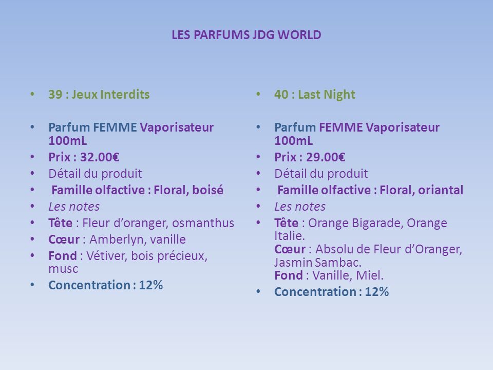 LES PARFUMS JDG WORLD39 : Jeux Interdits. Parfum FEMME Vaporisateur 100mL. Prix : 32.00€ Détail du produit