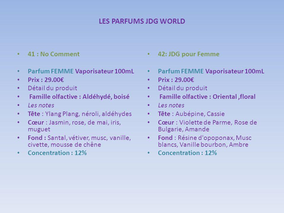 LES PARFUMS JDG WORLD 41 : No Comment Parfum FEMME Vaporisateur 100mL