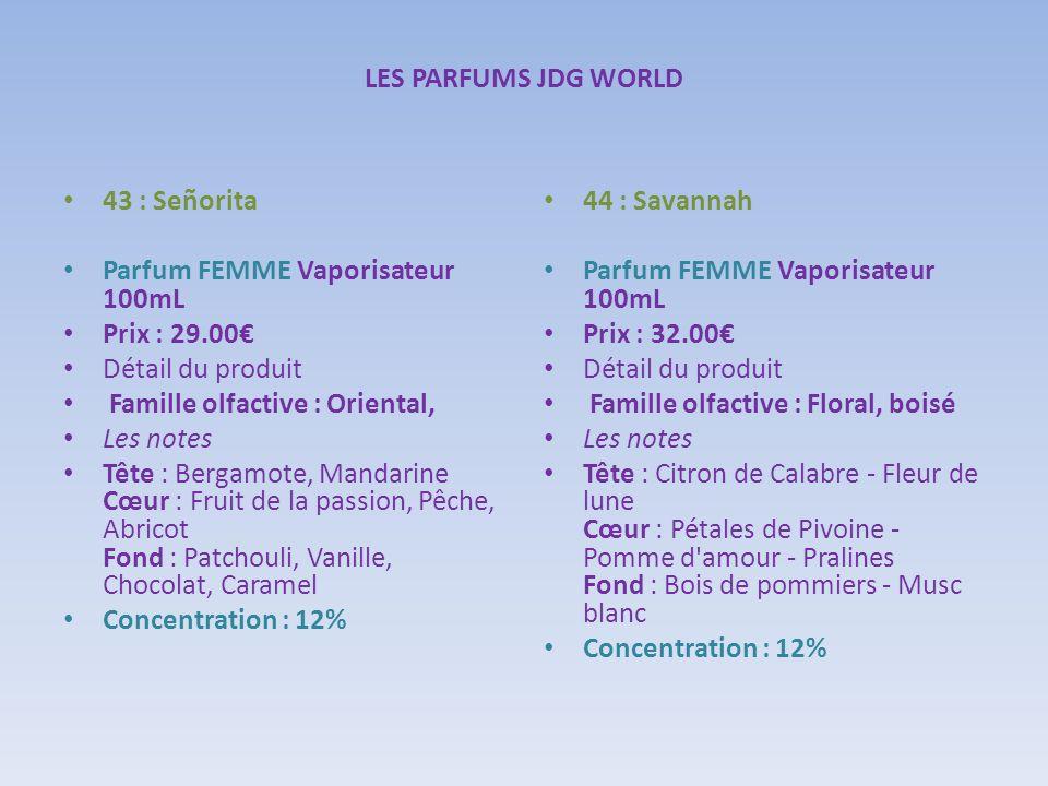 LES PARFUMS JDG WORLD43 : Señorita. Parfum FEMME Vaporisateur 100mL. Prix : 29.00€ Détail du produit