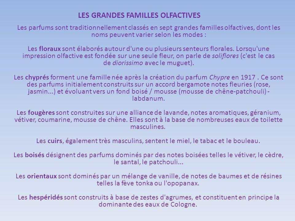 LES GRANDES FAMILLES OLFACTIVES