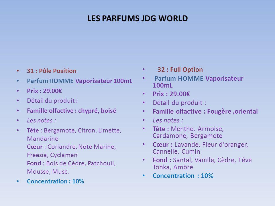 LES PARFUMS JDG WORLD 32 : Full Option Parfum HOMME Vaporisateur 100mL
