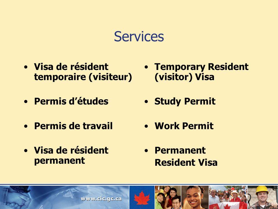 Services Visa de résident temporaire (visiteur) Permis d'études