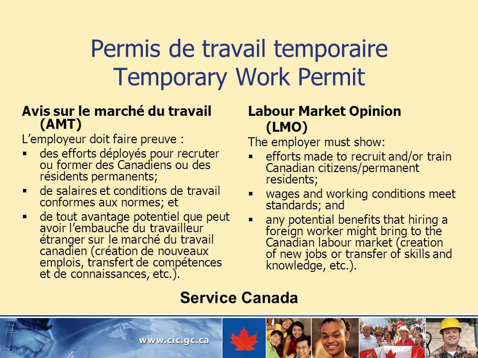 Permis de travail temporaire Temporary Work Permit