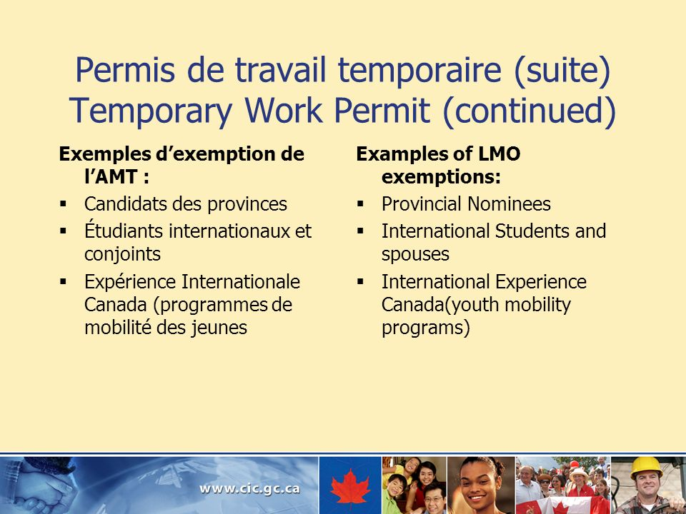 Permis de travail temporaire (suite) Temporary Work Permit (continued)