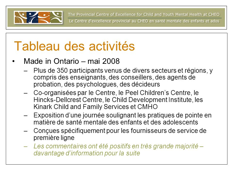 Tableau des activités Made in Ontario – mai 2008