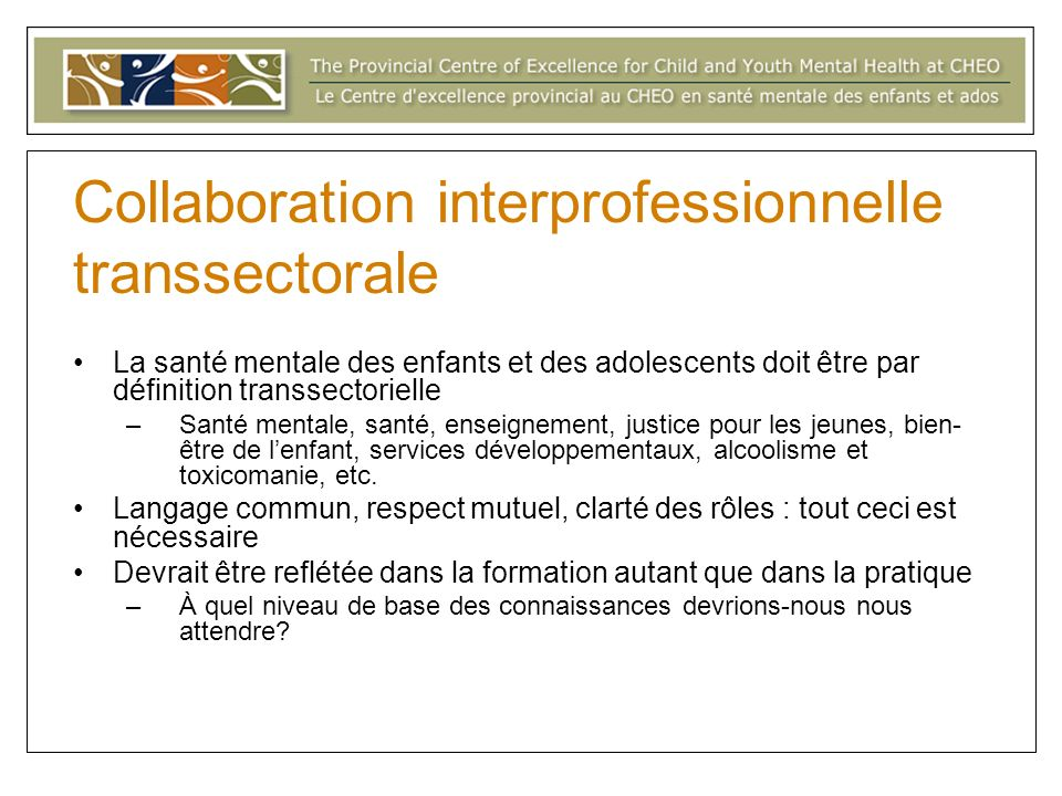 Collaboration interprofessionnelle transsectorale