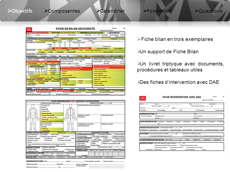 Objectifs Composantes Calendrier Formation Questions