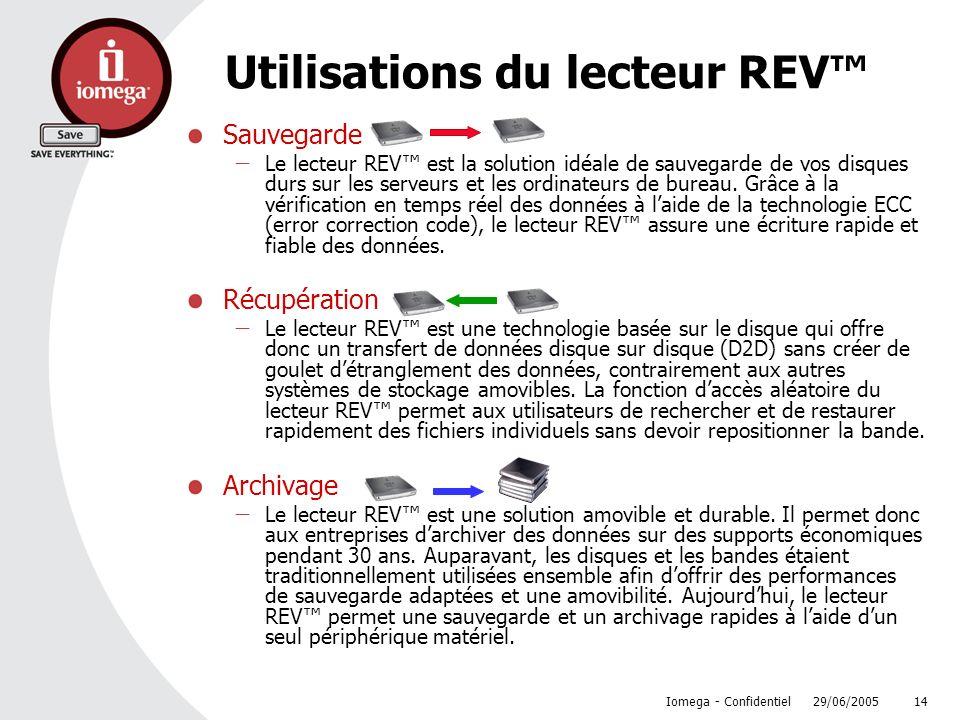 Utilisations du lecteur REV™