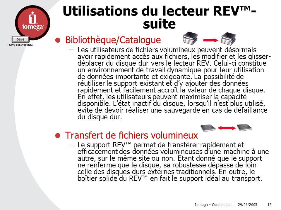 Utilisations du lecteur REV™- suite