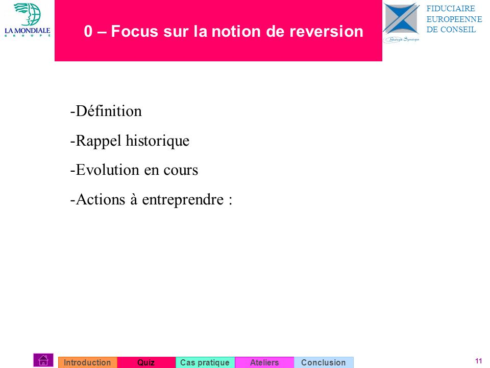 0 – Focus sur la notion de reversion