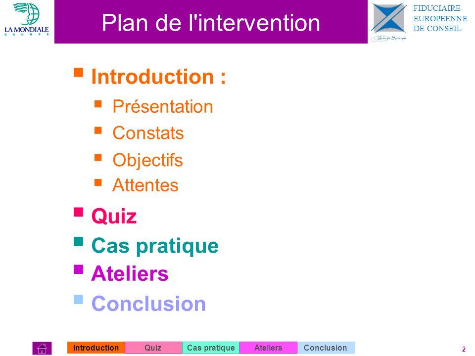 Plan de l intervention Introduction : Quiz Cas pratique Ateliers