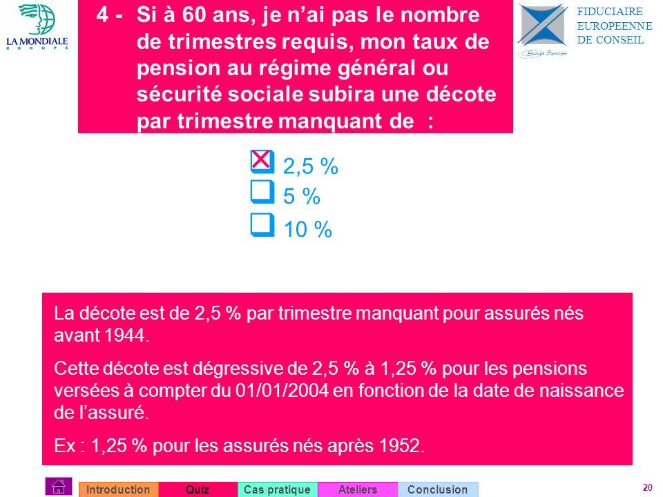 4 - Si à 60 ans, je n'ai pas le nombre de trimestres requis, mon taux de pension au régime général ou sécurité sociale subira une décote par trimestre manquant de :